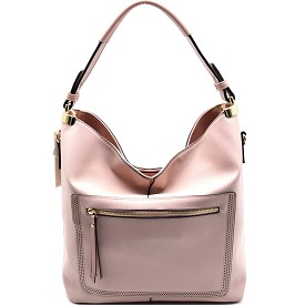LD085 Front Pocket Classy Single Strap Hobo Pink