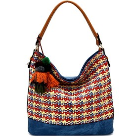 LD092 Thread and Pom Pom Bohemian Woven Hobo Blue