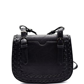 BGW16135 Madison West Braided Trim Flap Cross Body Black