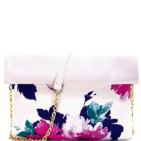 BGW26614 Madison West Flower Print Roll-Up Clutch White