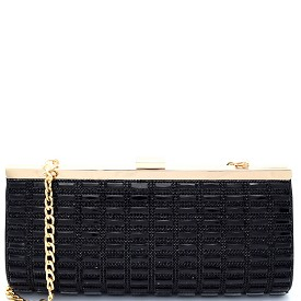 CLS1019 Starlet Rhinestone Embellished Frame Formal Clutch Black