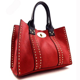 OOE60345 Turn-Lock Studded 2 in 1 Tote Bag Red/Coffee