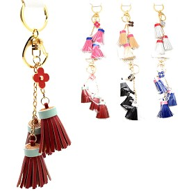 KEY211 Flower Charm Two-Tone Tassel Key Chain Assorted 12-Piece Package