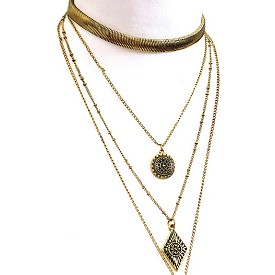 AMN3043 Multi Layered Aztec Theme Inspired Choker Necklace Antique-Gold