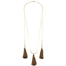 CON7087 Triple Tassel Accent Bohemian Necklace Brown