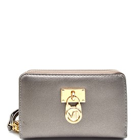 WP1207 Padlock Accent Small Double Zipper Wristlet Wallet Pewter