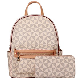 007-8578W Monogram Print Classy Backpack Wallet SET Taupe