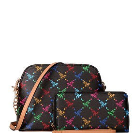 BE3-8232W Multi-Colored Monogram Dome-Shaped Cross Body Wallet SET Black