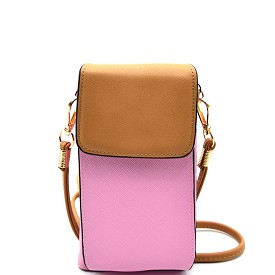 W1013 Wallet Compartment Cellphone Holder Crossbody Pink/L.Brown