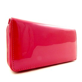 W4099FS Patent Fuax-leather Double Zipper Wristlet Wallet Fuchsia