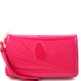 W2099FS Patent Faux-leather Large Single Zip-around Wristlet Wallet Fuchsia
