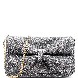 PPC5207 Bow Accent Glittery Clutch Shoulder Bag Silver