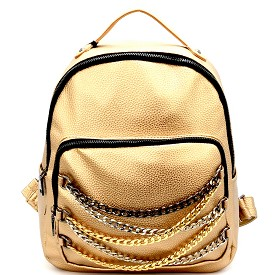 PP6478 Chain Accent Front Pocket Fashion Backpack Gold
