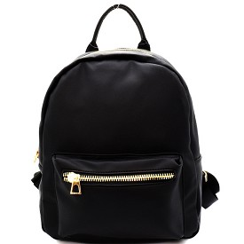 PP6526 Front Pocket Faux-leather Fashion Backpack Black