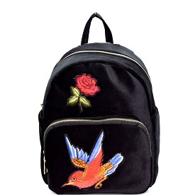PP6541 Bird Flower Embroidery Faux-Velvet Fashion Backpack Black