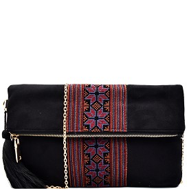 PP5169 Thread Tassel Aztec Embroidery Suede Fold-over Clutch Black