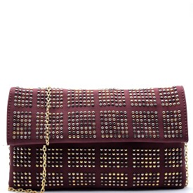 PPC5220 Stud Accent Flap Clutch Burgundy