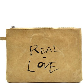 "PPC5297 Vintage Paper Clutch with Text ""Real Love"" Camel"