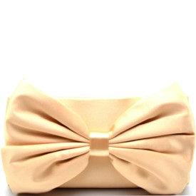 PPC5365 Large Bow Accent Satin Clutch Nude
