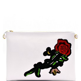 PPC5376 Rose Flower Embroidery Clutch White