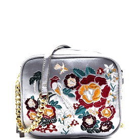 PPC5403 Flower Embroidery Satin Camera Bag Style Cross Body Silver