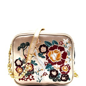 PPC5403 Flower Embroidery Satin Camera Bag Style Cross Body Gold