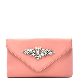 PPC5464 Rhinestone Embellished Envelope Clutch Pink
