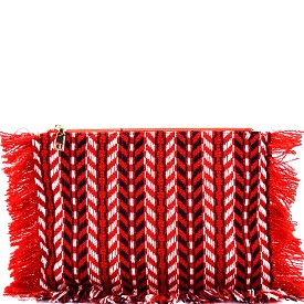 PPC5528 Fringed Tribal Aztec Pattern Clutch Red