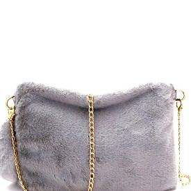 PPC5582 Faux-Fur Large Clutch Gray