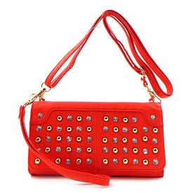 W745P93 Rhinestone and Stud Chackbook Wristlet Wallet with Shoulder Strap Red (Coral)