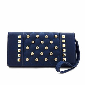 W764 Rhinestone Quilted Wristlet Wallet with Chain Strap Navy
