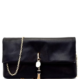 CL0133 Metal Tassel Accent Fold-Over Clutch Black