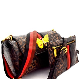 F0274 Butterfly Charm Color Block Striped 2 in 1 Shoulder Bag Leopard/Brown
