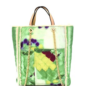S0362 Vintage Frayed Canvas 2-Way Tall Tote Mint