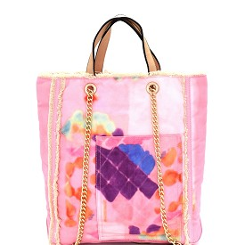 S0362 Vintage Frayed Canvas 2-Way Tall Tote Pink