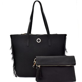 [S]S0528 Frayed Side Detail 2 in 1 Shopper Tote SET with Clutch Black