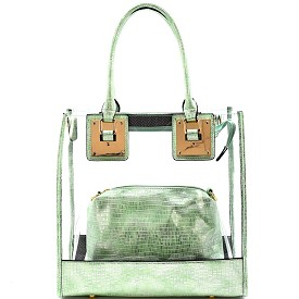 81471 Hardware Accent Clear 2 in 1 Tote Mint