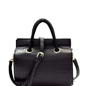 87792 Braided Strap Accent Crocodile Print Boxy Satchel Black