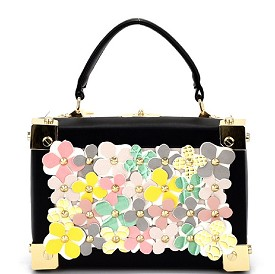 S87248 Studded Multi-Color Flower Embellished Box Satchel Black