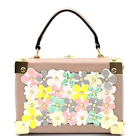 S87248 Studded Multi-Color Flower Embellished Box Satchel Taupe
