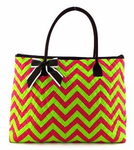 CC303 Chevron Print Quilted Weekender Tote Lime