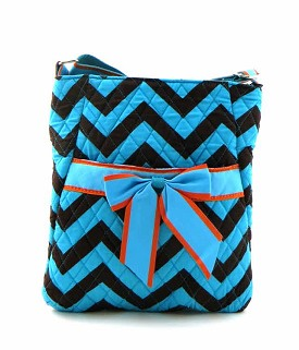 CC501 Chevron Print Quilted Messenger Turquoise