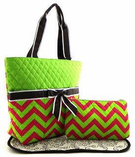 CC601 Chevron Print Quilted 3pcs Diaper Bag Lime