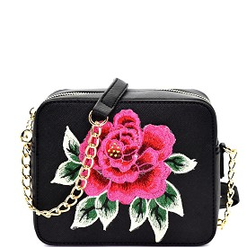 S039 Flower Embroidery Saffiano Boxy Cross Body Black