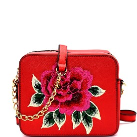 S039 Flower Embroidery Saffiano Boxy Cross Body Red