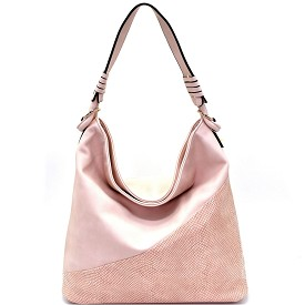 LB125 Snake Print Accent Silver-Tone Hardware Hobo Pink