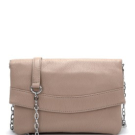 BGS5259 MMS Silver-tone Chain Soft Flap Clutch Cross Body Taupe