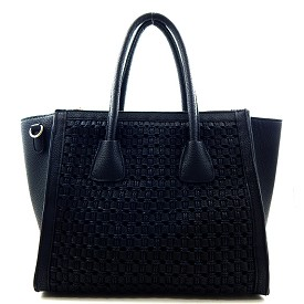 BGW15400 Woven Compartment 2 Way Tote Black