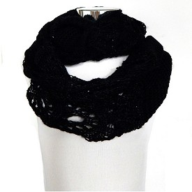 SCFH8530 Sequin Infinity Knit Scarf Black