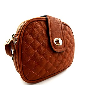 62122 Quilted Multi Compartments Crossbody Messenger Brown